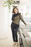 Модный женский спортивный костюм с удлиненной толстовкой штанами, разные цвета р.42-44,46-48 код 406А