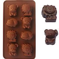 Молд зверьки 8 штук. Форма для лепки, творчества или выпекания коричневая. Мишка, лев, хрюша