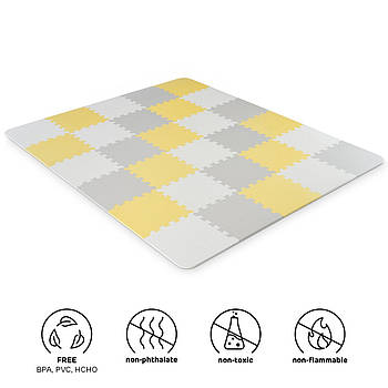 Коврик-пазл Kinderkraft Luno Yellow, 30 элементов