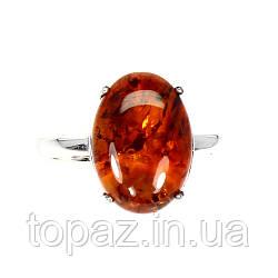 Кольцо серебряное 925 натуральный оранжевыйянтарь.