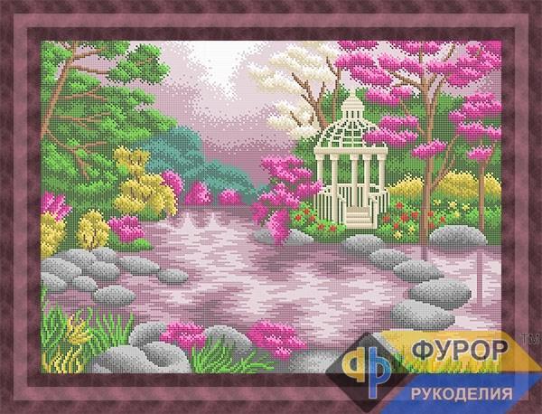 Схема для вышивки бисером картины Беседка на озере (ПБп2-014)