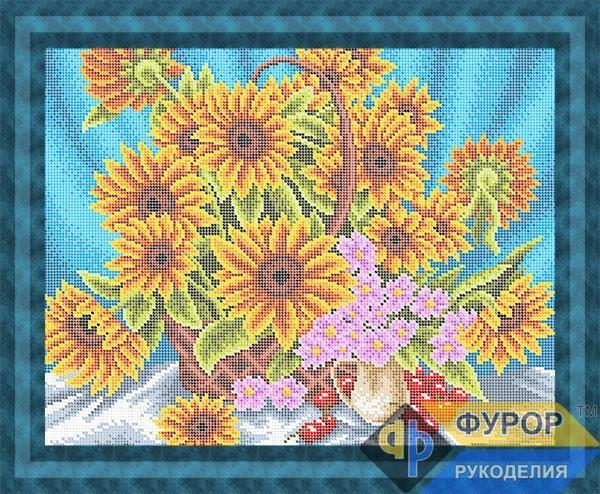 Схема для вишивки бісером картини Соняшники у кошику (НБп3-001-2)