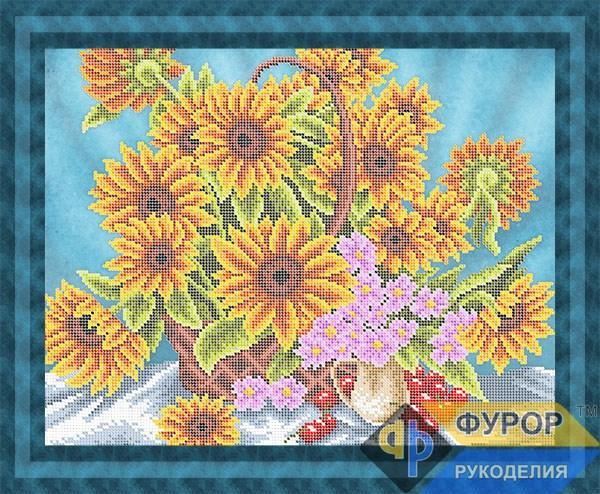 Схема для вишивки бісером картини Соняшники у кошику (НБч3-180)