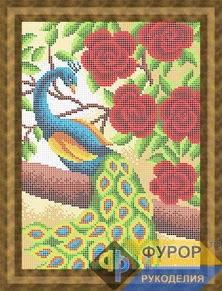 Схема для вышивки бисером картины Павлин в розах (ЖБп4-115)