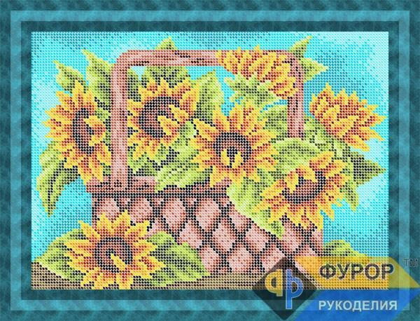 Схема для вишивки бісером картини Соняшники у кошику (НБп4-170)