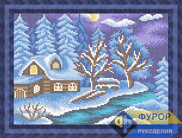 Схема для вишивки бісером картини Зимова ніч (ПБп4-038)