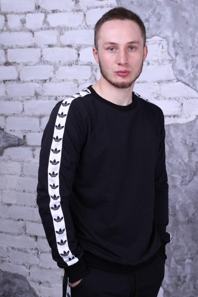 Свитшот чёрный с белыми лампасами Adidas