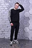 Свитшот чёрный с белыми лампасами Adidas, фото 2