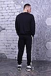Свитшот чёрный с белыми лампасами Adidas, фото 3