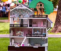 """Кукольный домик NestWood """"Дом приключений"""" для кукол ЛОЛ (LOL) + Подарок мебель 9 ед."""