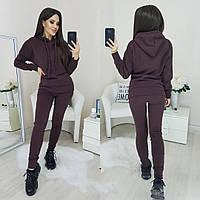 Женский костюм теплый на зиму коричневого цвета 42-44, 44-46