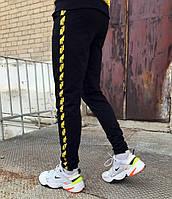 Спортивные штаны в стиле Off White Stripe черные чж, фото 1