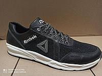 Обувь больших размеров Летние мужские кроссовки Reebok , черные (кожа+сетка)