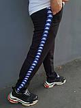 Штаны чёрные с синими лампасами Kappa, фото 2
