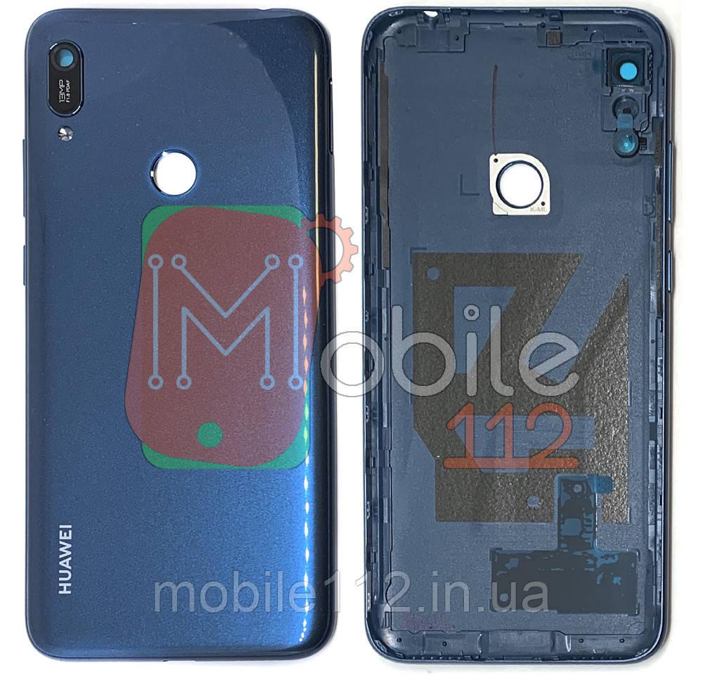 Задняя крышка Huawei Y6 2019 / Prime MRD-LX1F, MRD-LX1, MRD-LX3 с отверстием  сканера синяя со стеклом камеры