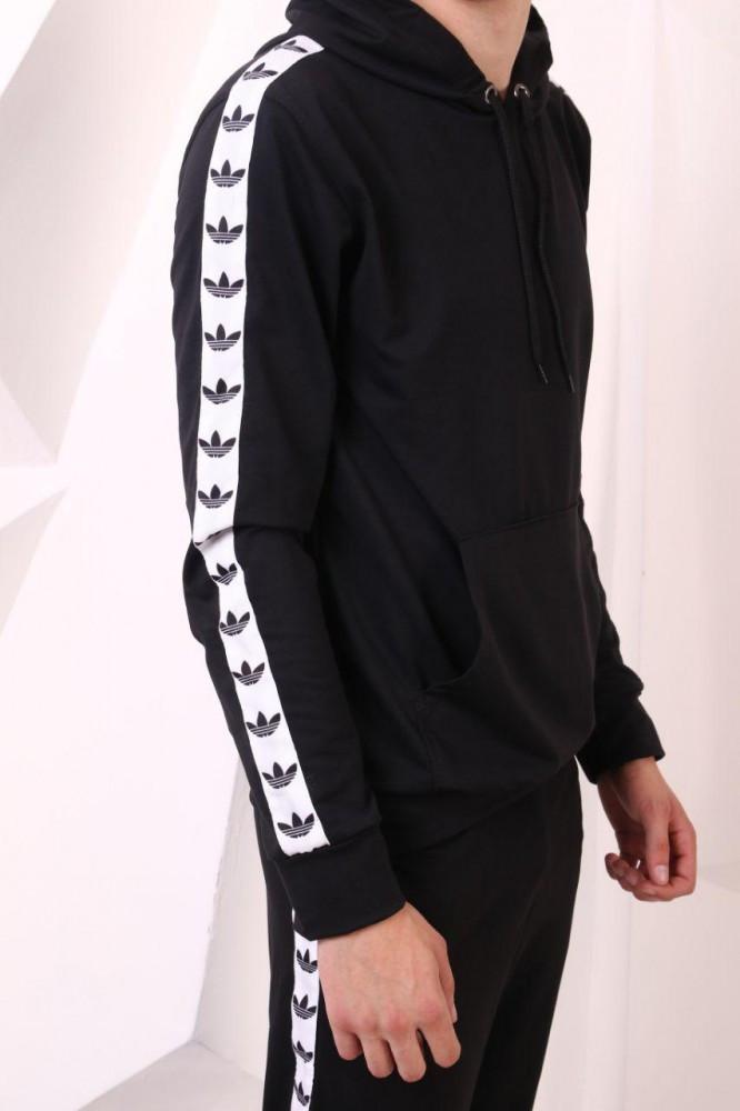 Худи чёрный с бело-чёрными лампасами Adidas