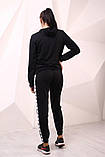 Худи чёрный с бело-чёрными лампасами Adidas, фото 4