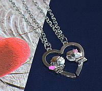 """Парные кулоны для влюбленных """"Половинки сердца с парочкой"""""""