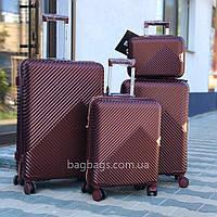 Комплект чемоданов из поликарбоната премиум серии 3 штуки малый, средний, большой + бьюти кейс бордовый