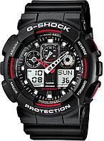 Часы спортивные мужские Casio G-Shock ga-100 черные с красным