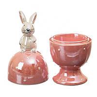 """Подставка с крышкой для яйца (пашотница) """"Пасхальный кролик"""" 16 см (керамика)"""