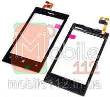 Сенсор (тачскрин)  Nokia 520 Lumia/ 525 Lumia черный с передней панелью