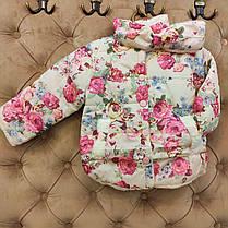 Куртка детская демисезонная  на девочку  с розами 1-4 года, фото 3