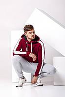 Мужской спортивный костюм: бордовая худи с лампасами, серые штаны