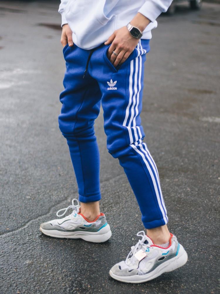 Тёплые спортивные штаны в стиле Adidas Thre line синие