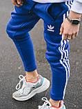 Тёплые спортивные штаны в стиле Adidas Thre line синие, фото 2