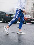 Тёплые спортивные штаны в стиле Adidas Thre line синие, фото 3