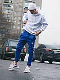 Тёплые спортивные штаны в стиле Adidas Thre line синие, фото 4