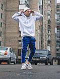 Тёплые спортивные штаны в стиле Adidas Thre line синие, фото 6