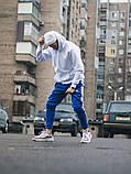 Тёплые спортивные штаны в стиле Adidas Thre line синие, фото 7