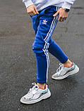 Тёплые спортивные штаны в стиле Adidas Thre line синие, фото 8