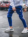 Тёплые спортивные штаны в стиле Adidas Thre line синие, фото 9