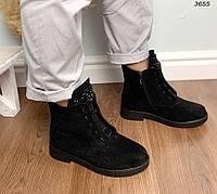 Зимние черные ботинки на шнуровке, фото 1
