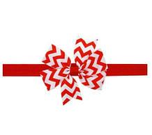 Детская повязка в полоску красная - окружность 36-48см, размер банта 9см
