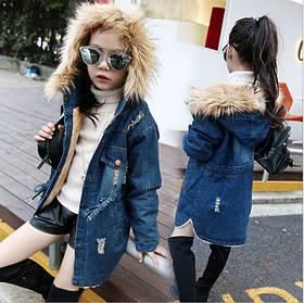 Детская джинсовая удлиненная  курточка  на девочку утепленная на меху весна-осень 4-9 лет