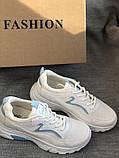 Белые кроссовки на платформе с сеточкой, фото 6