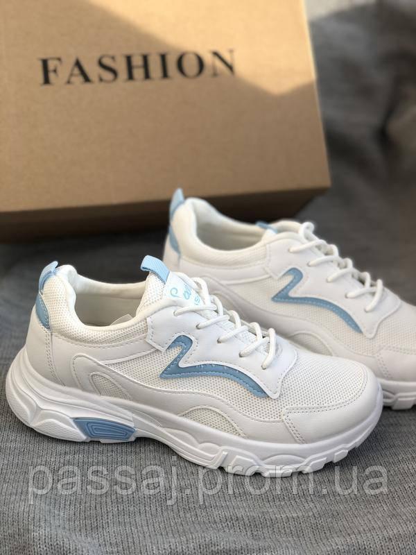 Белые кроссовки на платформе с сеточкой