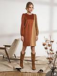 Оригинальное вельветовое платье прямого кроя двухцветное, фото 2