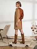 Оригинальное вельветовое платье прямого кроя двухцветное, фото 3