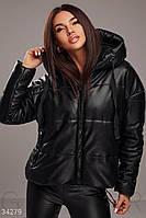 Супер-стильная кожаная женская куртка оверсайз