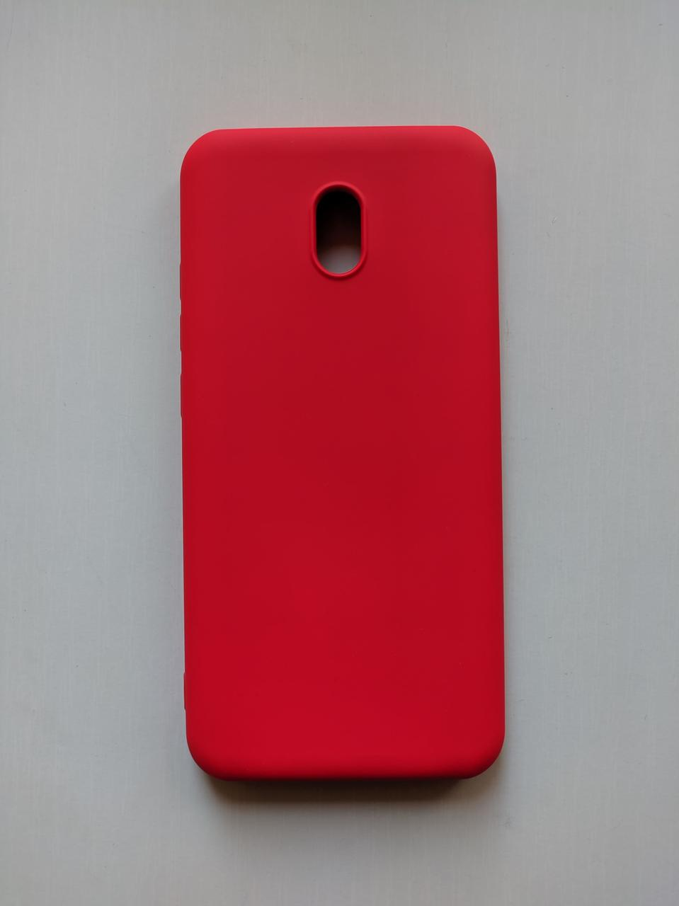 Силиконовый чехол Xiaomi Redmi 8A с микрофиброй Liquid Silicon Case Красный