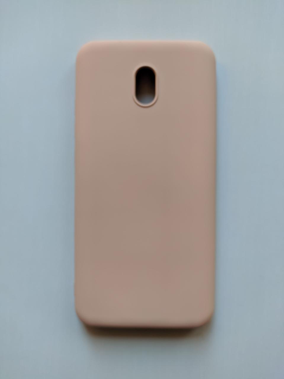 Силиконовый чехол Xiaomi Redmi 8A с микрофиброй Liquid Silicon Case Бежевый