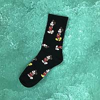 Носки Микки Маус - Высокие - Черные