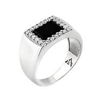 Серебряное кольцо мужское GS с ониксом и фианитами