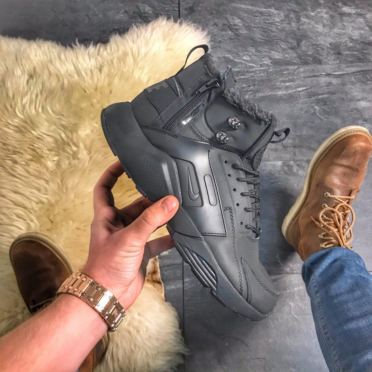Nike Air Huarache MID Black (МЕХ)