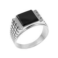 Серебряное кольцо мужское GS черненное с ониксом